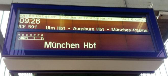 Früh mit dem Zug nach München zur Probefahrt